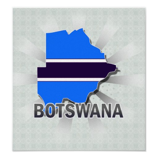 Mapa 2,0 de la bandera de Botswana Posters