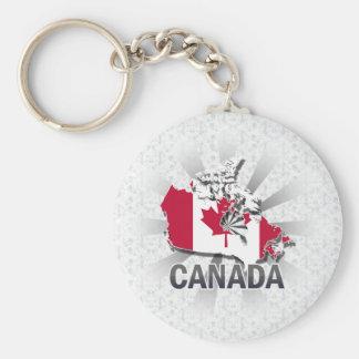 Mapa 2,0 de la bandera de Canadá Llavero Redondo Tipo Pin