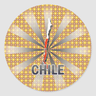 Mapa 2,0 de la bandera de Chile Pegatina Redonda