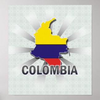 Mapa 2,0 de la bandera de Colombia Impresiones