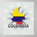 Mapa 2,0 de la bandera de Colombia Póster
