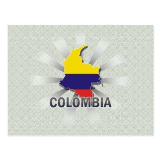 Mapa 2,0 de la bandera de Colombia Tarjeta Postal