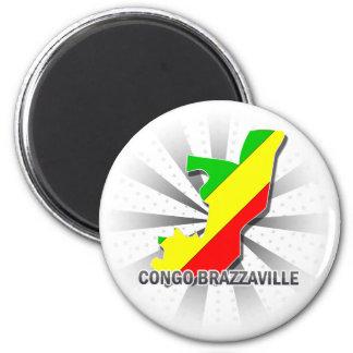 Mapa 2,0 de la bandera de Congo Brazzaville Imán Redondo 5 Cm