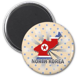 Mapa 2,0 de la bandera de Corea del Norte Imán Redondo 5 Cm