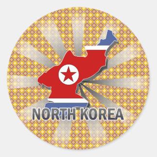 Mapa 2,0 de la bandera de Corea del Norte Pegatina Redonda