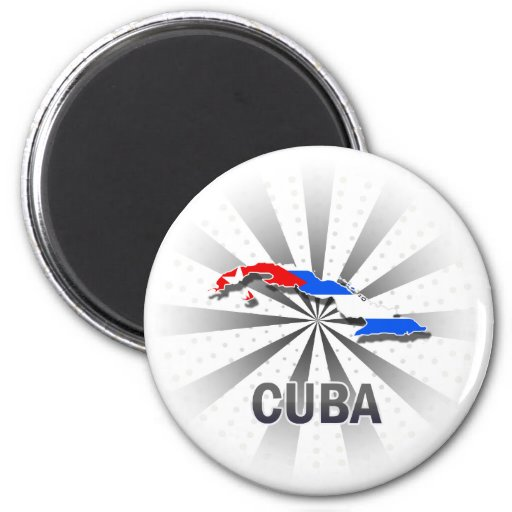 Mapa 2,0 de la bandera de Cuba Imán Redondo 5 Cm