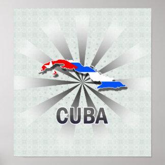 Mapa 2 0 de la bandera de Cuba Poster