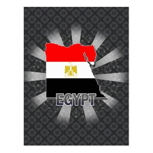 Mapa 2,0 de la bandera de Egipto Tarjeta Postal