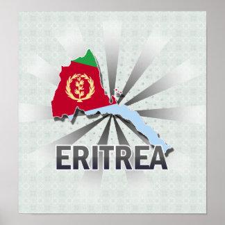 Mapa 2,0 de la bandera de Eritrea Póster