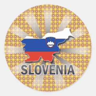 Mapa 2,0 de la bandera de Eslovenia Pegatina Redonda