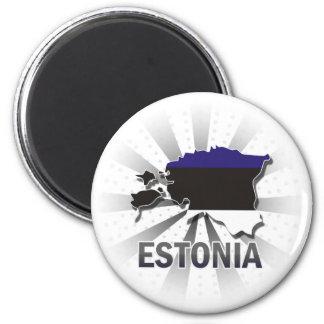 Mapa 2,0 de la bandera de Estonia Imán Redondo 5 Cm