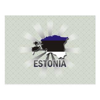 Mapa 2,0 de la bandera de Estonia Tarjetas Postales