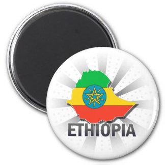 Mapa 2,0 de la bandera de Etiopía Imán Redondo 5 Cm