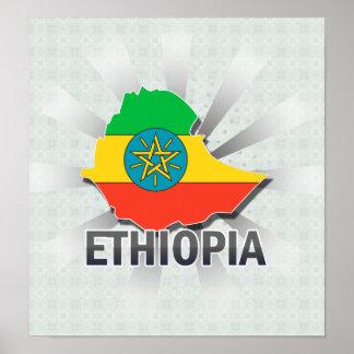 Mapa 2,0 de la bandera de Etiopía Póster