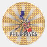 Mapa 2,0 de la bandera de Filipinas Etiqueta Redonda