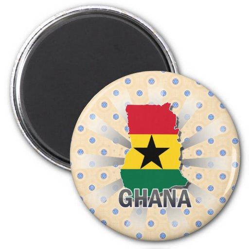 Mapa 2,0 de la bandera de Ghana Imán Redondo 5 Cm