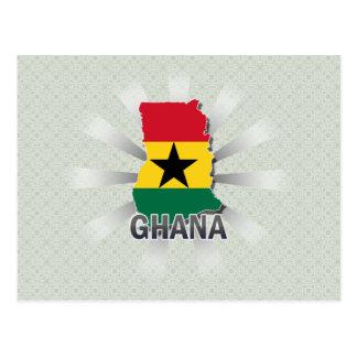 Mapa 2,0 de la bandera de Ghana Tarjetas Postales