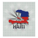 Mapa 2,0 de la bandera de Haití Poster