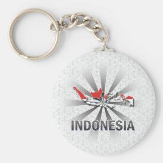 Mapa 2,0 de la bandera de Indonesia Llaveros Personalizados
