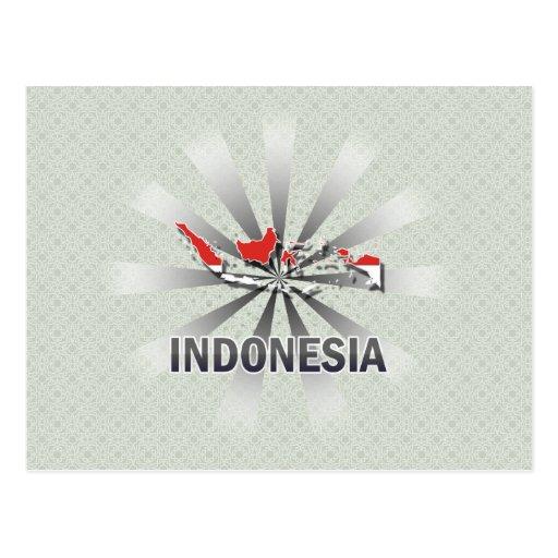 Mapa 2,0 de la bandera de Indonesia Tarjeta Postal
