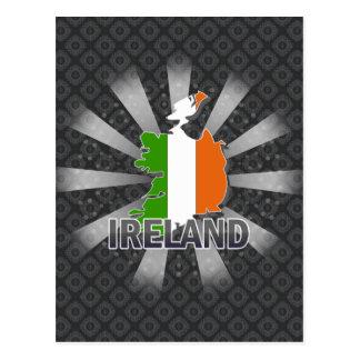 Mapa 2,0 de la bandera de Irlanda Tarjetas Postales