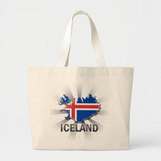 Mapa 2,0 de la bandera de Islandia Bolsa Tela Grande