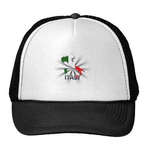 Mapa 2,0 de la bandera de Italia Gorros Bordados