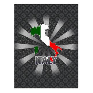 Mapa 2,0 de la bandera de Italia Tarjetas Postales