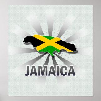 Mapa 2,0 de la bandera de Jamaica Póster