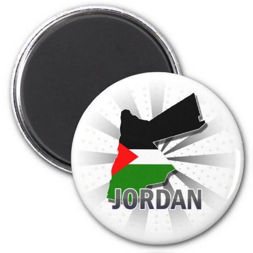 Mapa 2,0 de la bandera de Jordania Imán Redondo 5 Cm