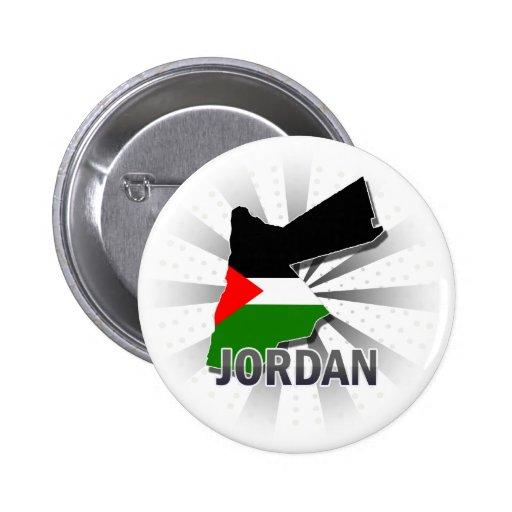 Mapa 2,0 de la bandera de Jordania Pin Redondo De 2 Pulgadas