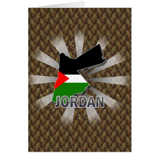 Mapa 2,0 de la bandera de Jordania Tarjeta De Felicitación