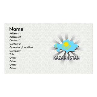 Mapa 2,0 de la bandera de Kazajistán Plantillas De Tarjeta De Negocio
