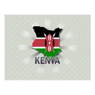 Mapa 2,0 de la bandera de Kenia Tarjetas Postales