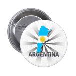 Mapa 2,0 de la bandera de la Argentina Pin Redondo De 2 Pulgadas