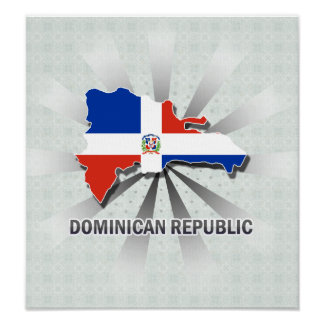 Mapa 2,0 de la bandera de la República Dominicana Póster