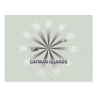 Mapa 2,0 de la bandera de las Islas Caimán Tarjeta Postal