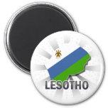 Mapa 2,0 de la bandera de Lesotho Imán Redondo 5 Cm