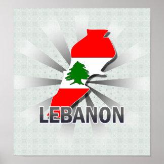 Mapa 2,0 de la bandera de Líbano Póster