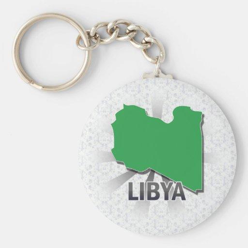Mapa 2,0 de la bandera de Libia Llavero Personalizado