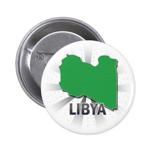 Mapa 2,0 de la bandera de Libia Pins