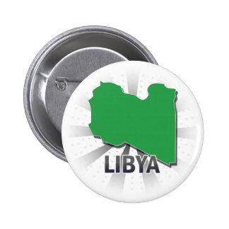 Mapa 2,0 de la bandera de Libia Pin Redondo De 2 Pulgadas