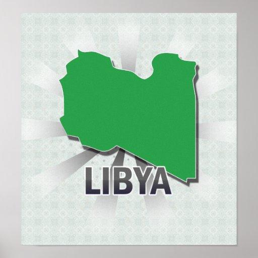 Mapa 2,0 de la bandera de Libia Póster