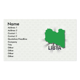 Mapa 2,0 de la bandera de Libia Tarjetas De Visita