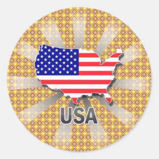 Mapa 2,0 de la bandera de los E.E.U.U. Pegatina Redonda