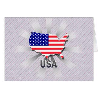 Mapa 2,0 de la bandera de los E.E.U.U. Tarjeta De Felicitación