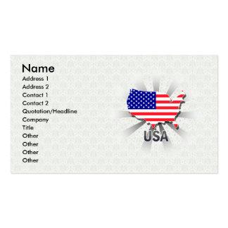 Mapa 2,0 de la bandera de los E.E.U.U. Tarjetas De Visita