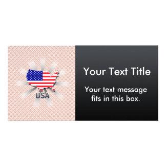 Mapa 2,0 de la bandera de los E.E.U.U. Tarjetas Fotográficas Personalizadas