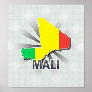 Mapa 2,0 de la bandera de Malí Póster