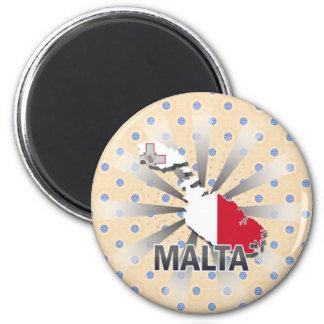 Mapa 2 0 de la bandera de Malta Imanes De Nevera